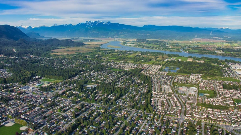 Port Coquitlam and the Pitt River are seen from the air in May 2019. (Pete Cline / CTV News Vancouver)