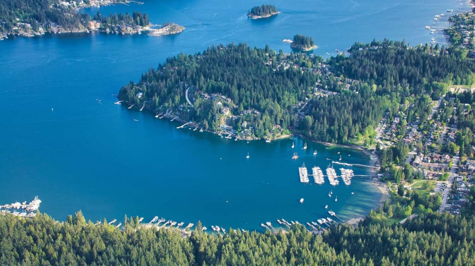 Deep Cove is seen from above in CTV's Chopper 9 in May 2019. (Pete Cline / CTV News Vancouver)