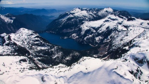A mountain lake is seen in the Coast Mountains in May 2019. (Pete Cline / CTV News Vancouver)