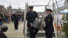 Paul Hollingsworth is on site when the Memorial Cup arrives at HMCS Dockyard in Halifax.