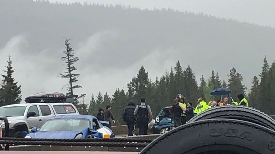 First responders are scene on Coquihalla Highway following a crash on May 16, 2019. (@JoshuaKnaak / Twitter)