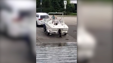 Incredible video of boater's close call