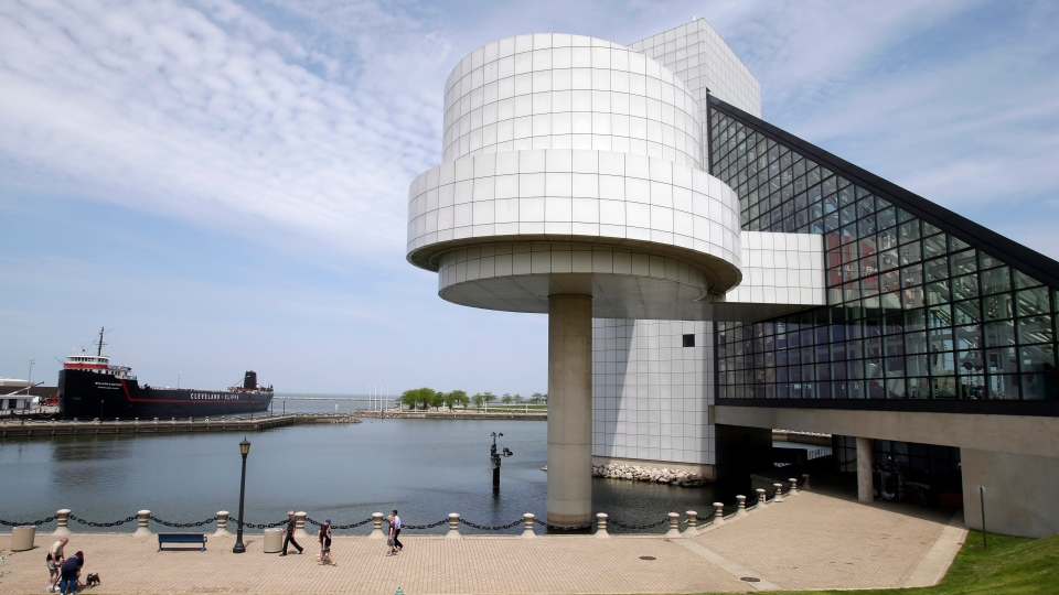 FILE - This May 21, 2013, file photo shows the exterior of the Rock and Roll Hall of Fame in Cleveland, designed by architect I.M. Pei. (AP Photo/Mark Duncan, File)