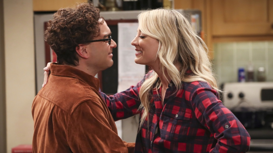Johnny Galecki, left, and Kaley Cuoco in a scene from the series finale of 'The Big Bang Theory.' (Michael Yarish / CBS via AP)