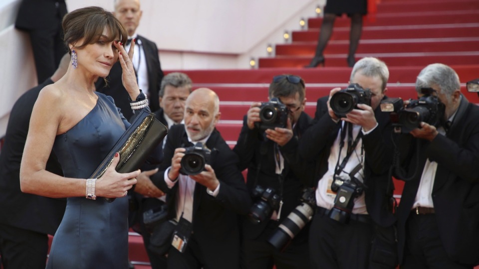 Carla Bruni-Sarkozy at the premiere of the film 'Les Miserables' at the 72nd international film festival, Cannes, on May 15, 2019. (Vianney Le Caer / Invision / AP)
