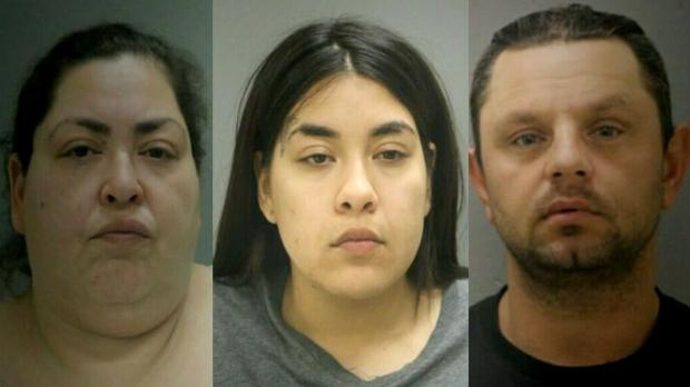 Suspects Clarisa Figueroa, Desiree Figueroa and Piotr Boback are shown in this composite image.