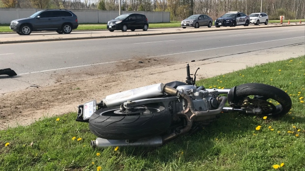 A motorcycle on its side