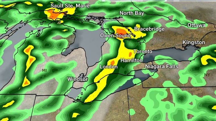 Rain moving into southern Ontario. (The Weather Company)
