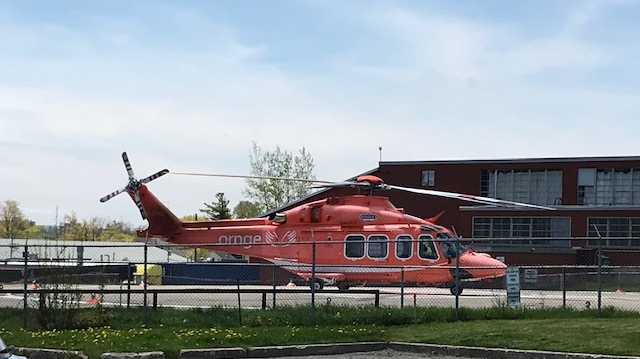 An Ornge air ambulance prepares to transport a patient to Hamilton on May 17, 2019. (Dave Pettitt / CTV Kitchener)