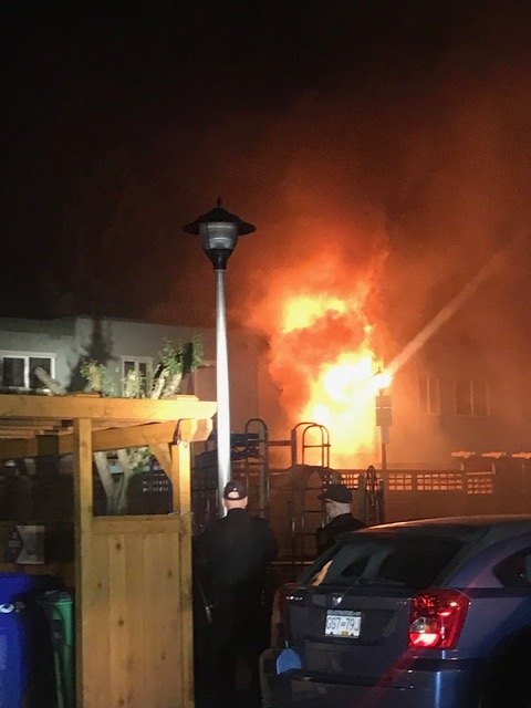 A photo of the blaze taken Friday morning at 4:20 a.m. by a Blanshard  Courts resident.