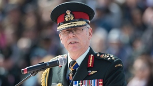 Chief of Defence Staff General Jonathan Vance speaks to the graduation class of Royal Military College of Canada in Kingston, Ont. on Friday May 17, 2019. THE CANADIAN PRESS/Lars Hagberg
