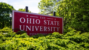 This May 8, 2019 photo shows a sign for Ohio State University in Columbus, Ohio. (AP Photo/Angie Wang)
