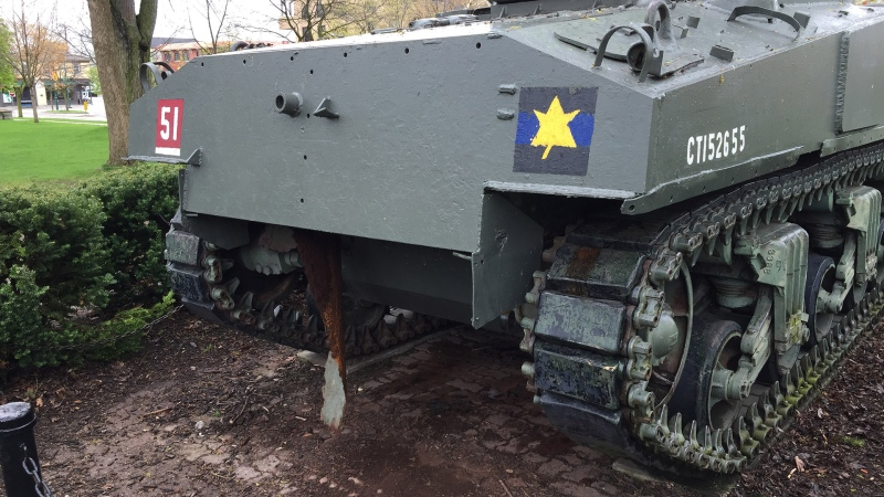 Damage can be seen to the 'Holly Roller' tank in Victoria Park in London, Ont. on Friday, May 17, 2019. (Source: Retired lieutenant-colonel Joe Murray)