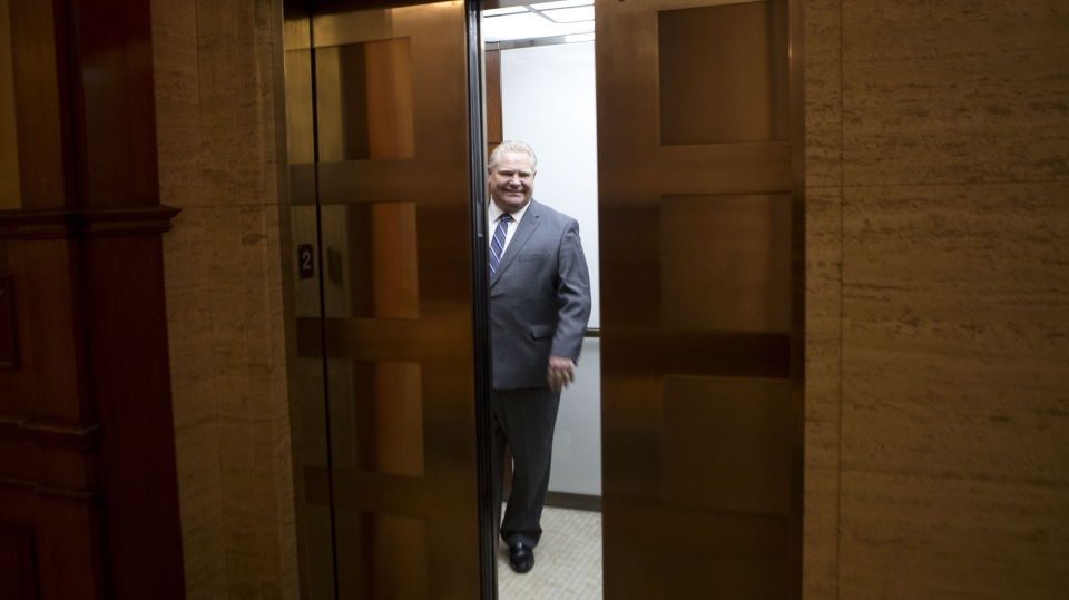 Ontario Premier Doug Ford stands in an elevator following his meeting with Alberta Premier Jason Kenney at the Ontario Legislature in Toronto on Friday, May 3, 2019. THE CANADIAN PRESS/Chris Young