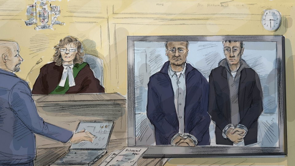 Reza Mohammadiasl, 47, and Mahyar Mohammadiasl, 18, appear in court on May 14, 2019. (Alexandra Newbould)