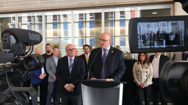 Windsor mayor Drew Dilkens making an announcement concerning the new single-site acute care hospital in Windsor, Ont., on Friday, May 17, 2019. (Ricardo Veneza / CTV Windsor)