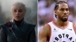 Actress Emilia Clarke, who plays Daenerys Targaryen on 'Game of Thrones,' and Toronto Raptors player Kawhi Leonard are seen in this composite image.