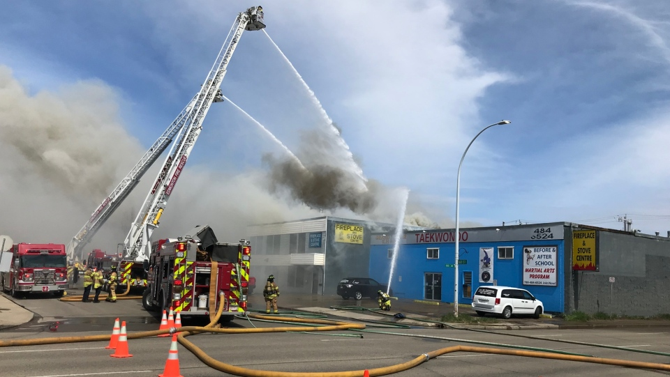 Firefighters battle blaze at a business in west Edmonton.