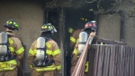 Firefighters on scene of a fire in the Holyrood neighbourhood on Friday morning.