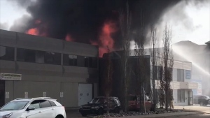 Fire at a business near 100 Avenue and 168 Street.