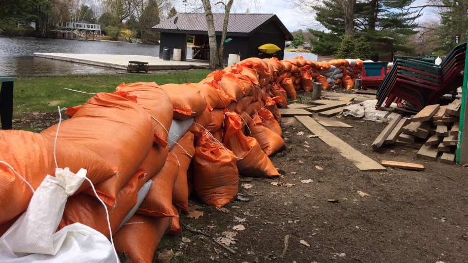 Dozens of sandbags will have to be removed from properties as cleanup efforts continue in Bracebridge on Fri., May 17, 2019 (CTV News/Rob Cooper)