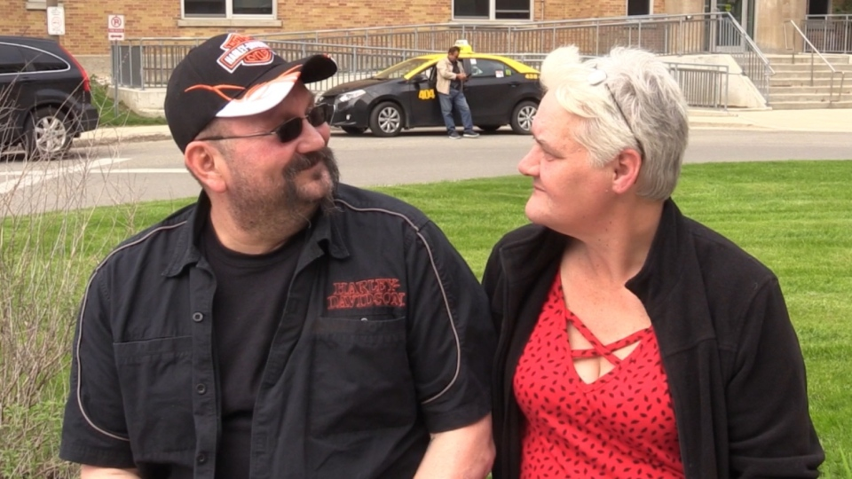 Frank Divinszki and his wife Heather Bowen-Sandham discuss life after his motorcycle accident, in London, Ont. on Friday, May 17, 2019. (Celine Moreau / CTV London)