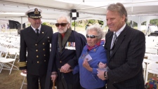 Navy veterans Trevor Shuckburgh, second from left, and Alice Adams, second from right, are honoured at a ceremony in Colwood on May 17, 2019. (CTV Vancouver Island)