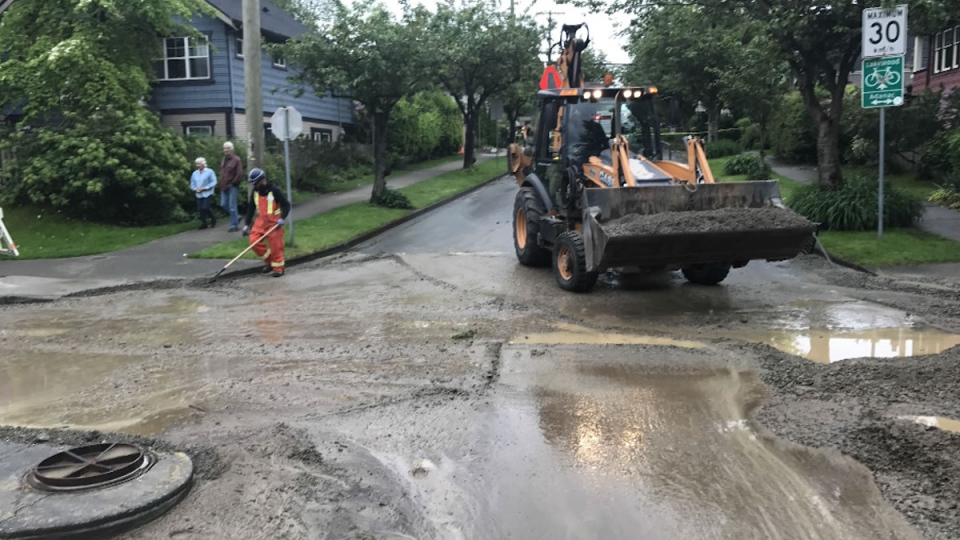 Water main break in Vancouver