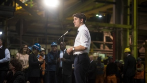 Prime Minister Justin Trudeau answers questions from the media following a visit to Stelco in Hamilton, Ont., Friday, May 17, 2019. THE CANADIAN PRESS/Tijana Martin