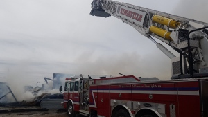 The Kingsville Fire Department is on scene at a barn fire on County Road 8 on Saturday, May 18, 2019. (Twitter / @KingsvilleFD)
