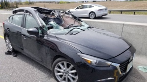 One person was airlifted to hospital after a wheel struck a vehicle on a busy Ontario highway on Saturday, May 18, 2019. (OPP_HSD/ Twitter)
