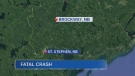 A 25-year-old St. Stephen, N.B. man has died following a collision involving three vehicles in Brockway, N.B.