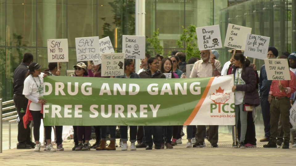Dozens of Surrey residents took part in a walk calling for the end of gang violence and drugs in their city.