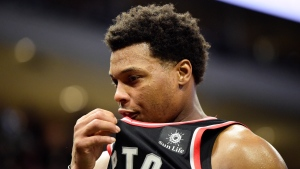 Toronto Raptors guard Kyle Lowry (7) reacts late in the fourth quarter during Game 2 of the NBA basketball Eastern Conference finals against the Milwaukee Bucks in Milwaukee on Friday, May 17, 2019. (THE CANADIAN PRESS/Frank Gunn)