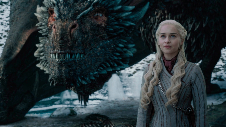 """This image released by HBO shows Emilia Clarke in a scene from """"Game of Thrones,"""" that aired Sunday, May 5, 2019. (Helen Sloan/HBO via AP)"""