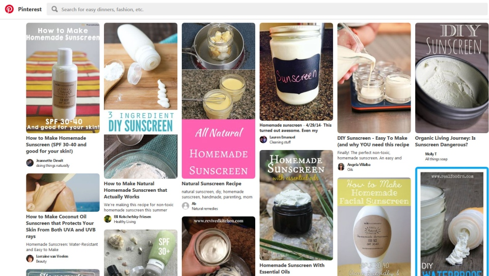 A recent study examining the growing popularity of homemade sunscreen recipes on Pinterest found that 95 per cent of those posts described the alleged effectiveness of do-it-yourself sunscreens. (Screenshot)