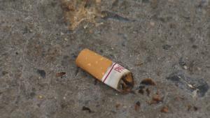 Een sigarettenpeuk is te zien in deze afbeelding.