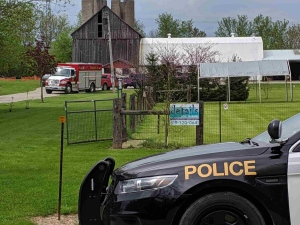 Emergency vehicles are on scene of an accident involving a lawn tractor on Mapleton Line in Central Elgin on Sunday, May 19, 2019.