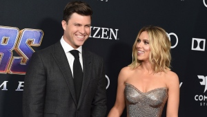 "Colin Jost, left, and Scarlett Johansson arrive at the premiere of ""Avengers: Endgame"" at the Los Angeles Convention Center on  April 22, 2019. (Photo by Jordan Strauss/Invision/AP)"