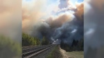 Marlboro residents were evacuated Sunday evening as a fire near Edson migrated towards the townsite and over the community's railroad tracks. (Courtesy: Jolene Belcourt Mitchell)