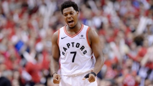 Toronto Raptors guard Kyle Lowry reacts as he's removed from the game in foul trouble during the second half of Game 3 NBA Eastern Conference finals basketball action in Toronto on Sunday, May 19, 2019. THE CANADIAN PRESS/Nathan Denette