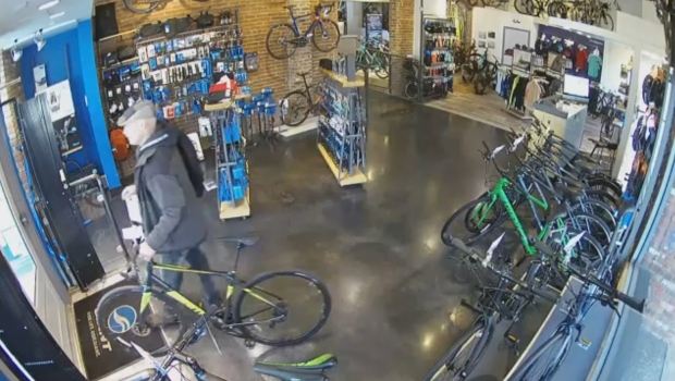 The staff of a Victoria bicycle shop posted some surprising security camera video on its Facebook page Friday afternoon. (CTV)