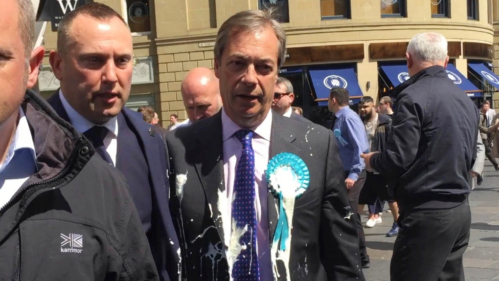 Brexiteer Farage splattered in latest U.K. milkshake attack