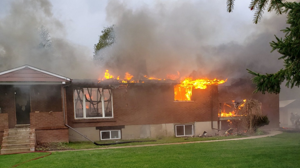 Fire ravages a home on 6th Line in Essa Township on May 19, 2019. (Courtesy: Essa Fire dept.)