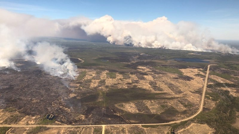 Two Slave Lake fires pictured on May 19, 2019 at 2:20 p.m. (Courtesy: Alberta Wildfire)