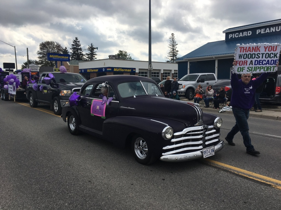 Rodney Stafford participates in the Woodstock Victoria Day Parade on Monday, May 20, 2019