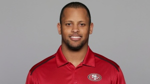 This 2016, file photo shows Keanon Lowe of the San Francisco 49ers NFL football team. Lowe, a former analyst for the 49ers and wide receiver at the University of Oregon, subdued a person with a gun who appeared on a Portland, Oregon high school campus Friday, May 17, 2019. (AP Photo/File)