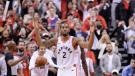Toronto Raptors forward Kawhi Leonard (2) reacts following the Raptors win against the Milwaukee Bucks in Game 3 of the NBA Eastern Conference finals in Toronto on Sunday, May 19, 2019. THE CANADIAN PRESS/Nathan Denette