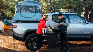 Rivian R1T equipped with a built-in camp stove for Overland. (Rivian / AFP)