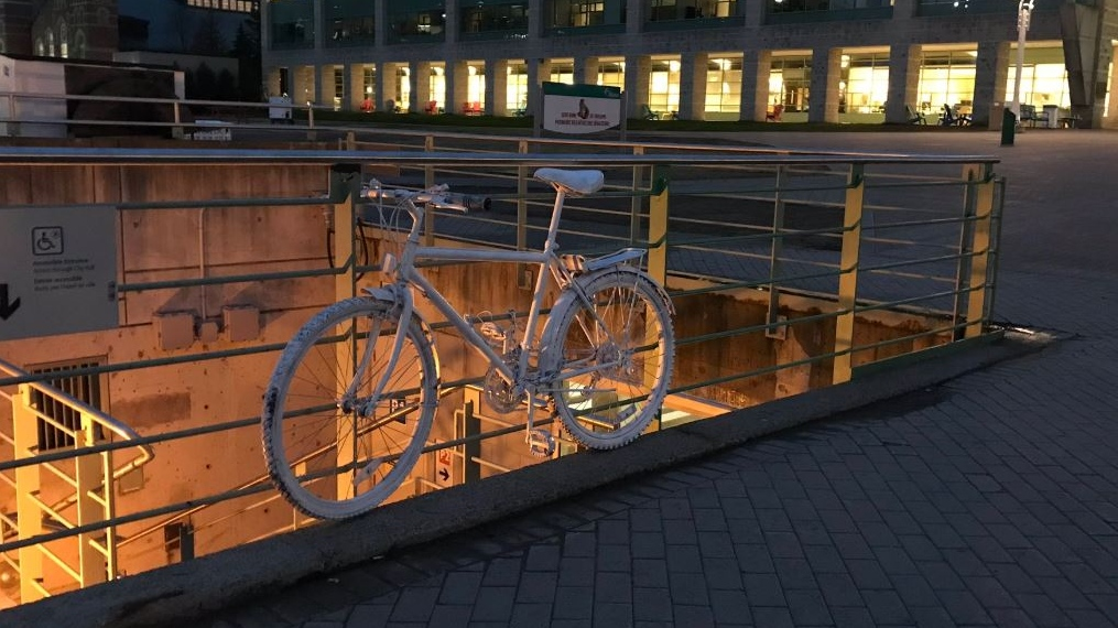 Ghost bike honours cyclist killed on Laurier